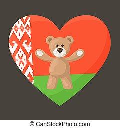Belarusian Teddy Bears - Teddy Bears with heart with flag of...