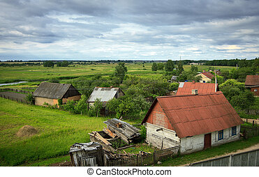 belarusian village at summer, high angle view