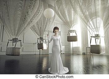 belas-artes, foto, de, um, jovem, moda, senhora, em, um, elegante, interior