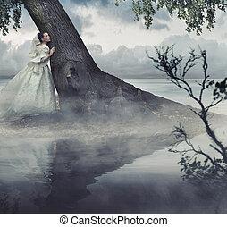 belas-artes, foto, de, um, mulher, em, beleza, paisagem