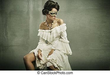 belas-artes, foto, de, um, mulher jovem, máscara desgastando
