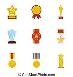 belasten met, iconen, set, spotprent, stijl