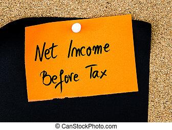 belasting, aantekening, geschreven, papier, inkomen, sinaasappel, net, voor