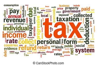 belasting, concept, woord, wolk, label