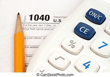 belasting, documenten, met, accessoires