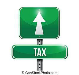 belasting, ontwerp, straat, illustratie, meldingsbord