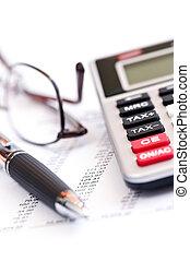 belasting, rekenmachine, pen en, bril