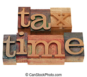 belasting, tijd, in, letterpress, type
