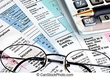 belasting, time., handel concept