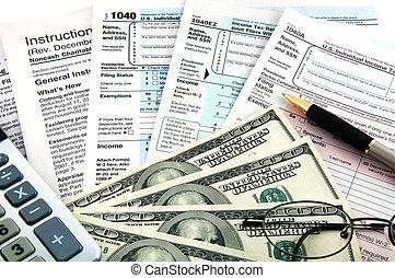 belasting, time., zakelijk, concept.