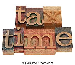 belasting, type, letterpress, tijd
