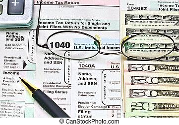 belasting vormt, 1040, en, geld.