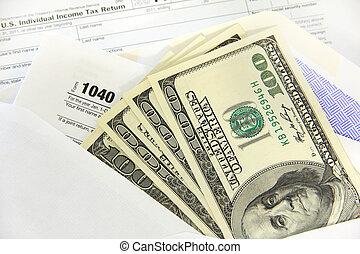 belasting vormt, met, dollarrekeningen