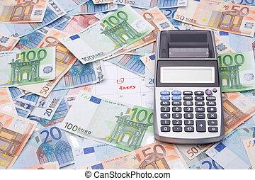 belastingen, concept, -, geld, en, rekenmachine