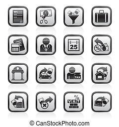 belastingen, zakelijk, en, financiën, iconen