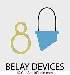belay, dispositivos, icono, plano, diseño
