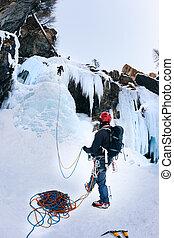 belays, hielo, líder, climbing., durante, trepador