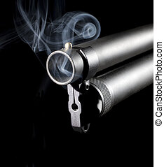 Belching smoke - Big barrel from a shotgun that is pouring...