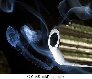 belching smoke - handgun barrel that is just belching out...