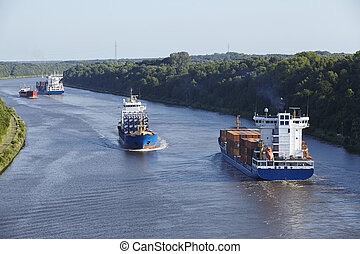 Beldorf (Germany) - Vessels at Kiel Canal (retouched) - Some...