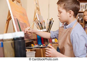 belebonyolódott, young fiú, birtoklás, feladat, alatt, a, művészet, izbogis