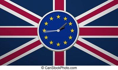 belebt, uhr, zählen, unten., brexit, vereinigtes königreich,...