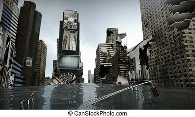 belebt, zeitquadrat, new york, manhattan, beschädigt, straße, wasser, loop., 3d, übertragung