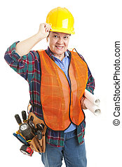 beleefd, vrouwlijk, de arbeider van de bouw