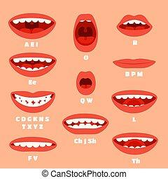 beleidigung, satz, artikulation, lips., akzente, sync,...