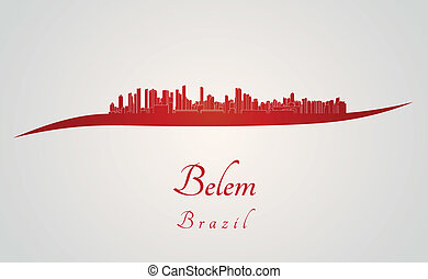 Belem skyline in red