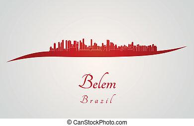 Belem skyline in red