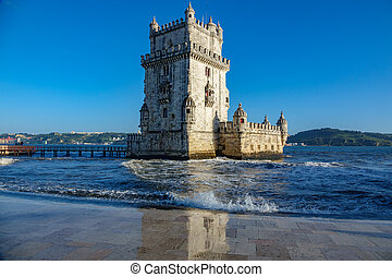 High tide in Belem tower with reflection