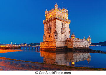 Belem Tower in Lisbon at night, Portugal - Belem Tower or...
