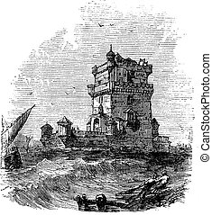 Belem Tower, in Lisbon, Portugal, during the 1890s, vintage engraving