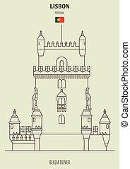 Belem Tower in Lisbon, Portugal. Landmark icon in linear style