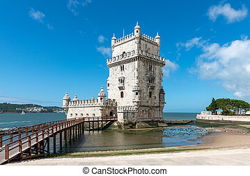 Belem Tower, Lisbon (Portugal) - View of the Belem Tower on...
