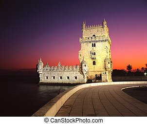 Belem tower, Lisbon, Portugal. - Tower of Belem at sunset,...