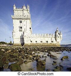 Tower of Belem in evening. Lisbon, Portugal.