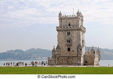 Belem turret - Belemsky turret on the river Tagus in Lisbon,...