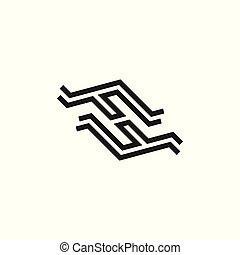 beletrystyka, abstrakcyjny, wektor, fh, logo, kreska
