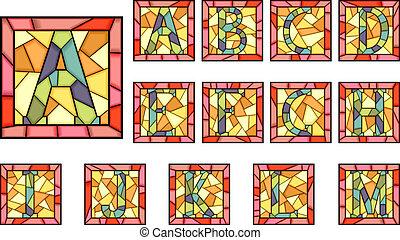 beletrystyka, alphabet., mozaika, kapitał