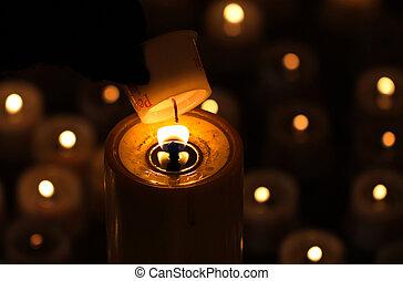 beleuchtung, a, denkmal, kerze