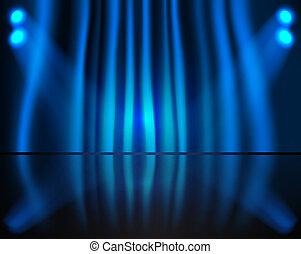 beleuchtung, buehne, mit, blauer vorhang