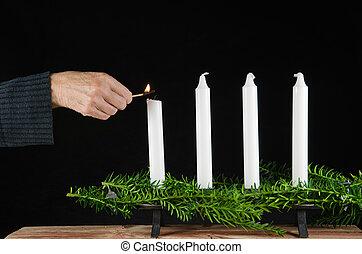 beleuchtung, der, zuerst, adventskerze