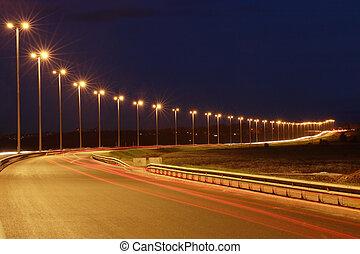 autobahn road beleuchtung mast nacht beleuchtung bilder fotografien und foto clipart. Black Bedroom Furniture Sets. Home Design Ideas