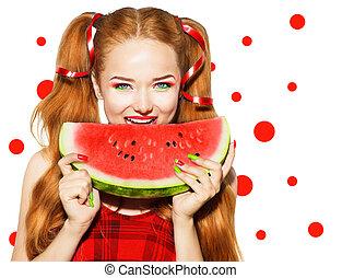 beleza, adolescente, modelo, menina, comendo melancia