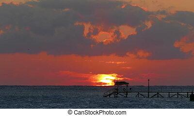 beleza, amanhecer, sobre, mar, -, timelapse, telephoto