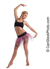 beleza, balé, mulher jovem, posar, em, dance traje