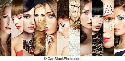 beleza, collage., caras, de, mulheres