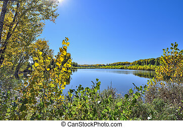 beleza, coloridos, natureza, -, outonal, lago, paisagem outono